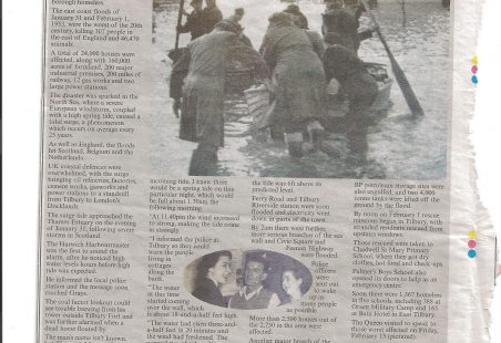Article about the 1953 floods from Thurrock Gazette