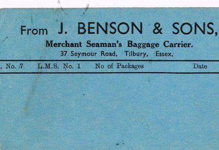 J.BENSON & SONS Baggage Label