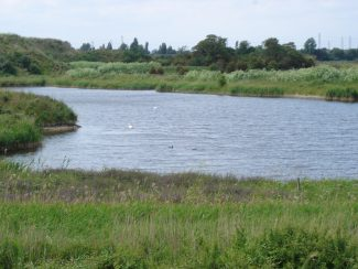 Man made lake at the gravel pit East Tilbury