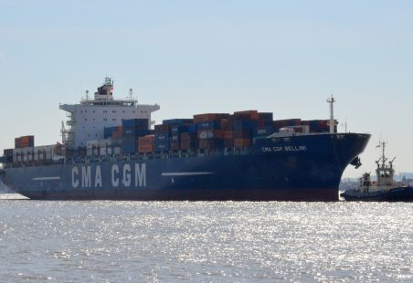 CMA CGM BELLINI  arriving on the Thames