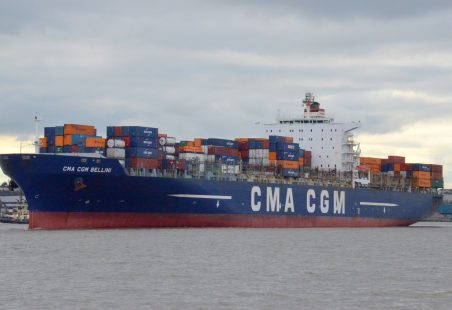 CMA CGM BELLINI leaving the Thames