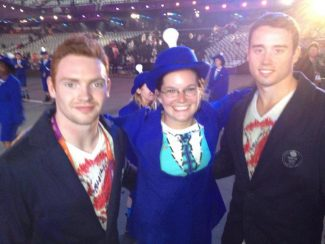 Eleanor Matthewman at the closing ceremony with two medal winning members of Team GB