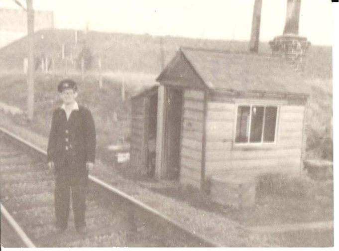 Bill Cowin at crossing keepers hut Fort Road c1960