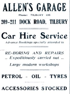 Allens Garage,Dock Road Tilbury. 1950s.