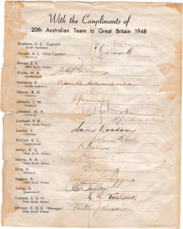The autographs of the 1948 Australian touring team