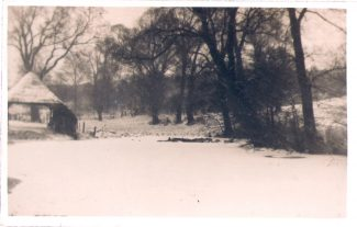 Biggin, the pond and cart shed 1930s, winter. | from John Smith