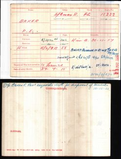 Percy Baker's Medal Index Card | These cards are held by the National Archives. This image is from Ancestry. (Ancestry is a commercial site, but can be used without charge from any Thurrock Library.)