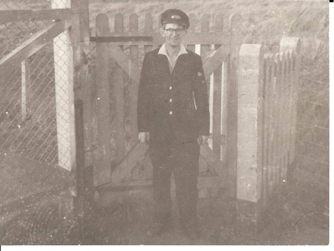Bill Cowin at Fort Road crossing c1960