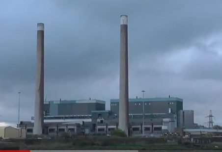 Demolition of Tilbury Power Station's chimneys
