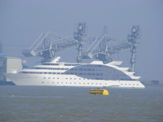 The Floating Hotel on it's way to London past Tilbury
