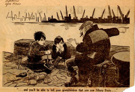 Cartoon of Tilbury Docks