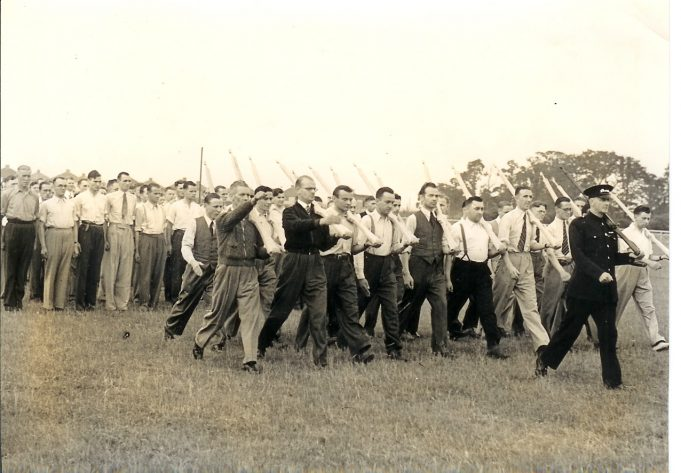 Bata factory, East Tilbury, home guard practice marching with wooden rifles. 2nd World War. | Thurrock Museum