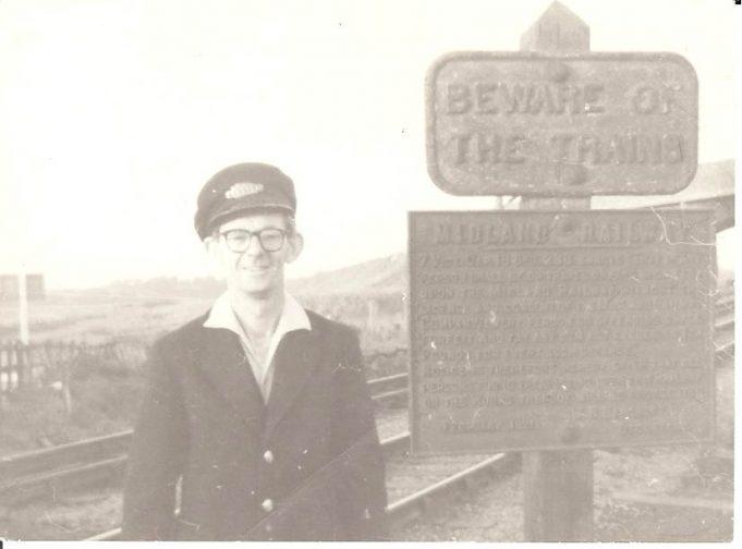 Railway Crossing Fort Road c1960. Notice Midland Railways Sign