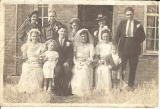 My wedding 1945. Back: ?,  ?, Betty?, Mrs Cooledge, Chris Spooner. Front: Iris Malthouse, Maureen Chapple, Cliff (Bill) Cowin, Joan Cowin nee Chapple, Millie Cooledge.