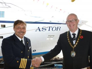 Mayor Steve Liddiard with the captain of the Astor