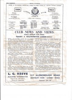 Programme from 1961 and the line up for the game.