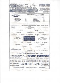 Programme from Essex Senior Cup Final 1961