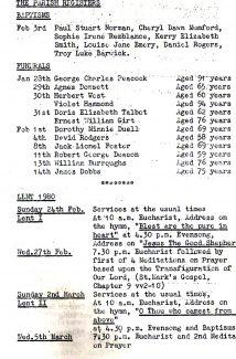 St,Johns Parish Register Tilbury 1980.