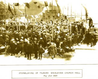 Stone laying of the Tilbury Wesleyan Church Hall, 1928