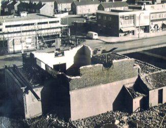 The First Wesleyan Church under Demolition 1960s.