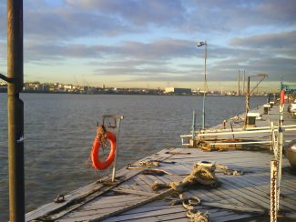 Landing stage on a frosty morning