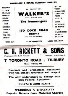 Tilbury Advertisments,1950s 2