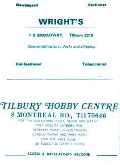 Tilbury Advertisments etc.