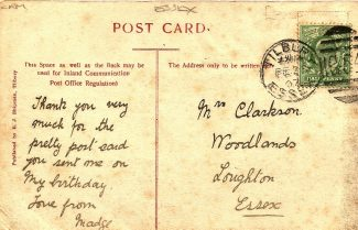 First postcard back