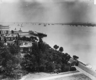 Queen Elizabeth gardens and landing stage,from Tilbury Hotel | unknown