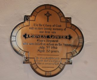 Memorial to Ernest Gower in Chadwell Church