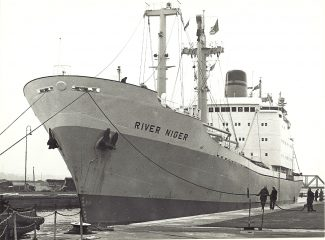 RIVER NIGER  of Nigerian National shipping in Tilbury Docks late 1960s