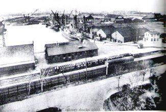 Dock activity from the hotel, 1933   from John Smith