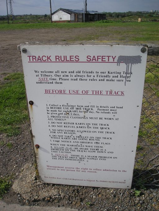 Tilbury Go-Kart track rules sign | from John Smith