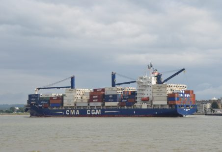 CMA CGM HOMERE in the river