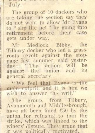 Dock strike 'rebels' to sue Evans | Daily Telegraph - Bibby Family