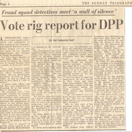 Vote rig report for DPP | Sunday Telegraph - Bibby Family