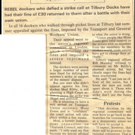 Rebel dockers' fines returned | Thurrock Gazette - Bibby Family
