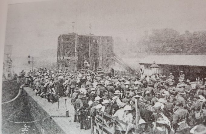 Anzac troops leaving Tilbury Riverside for home July 1919.