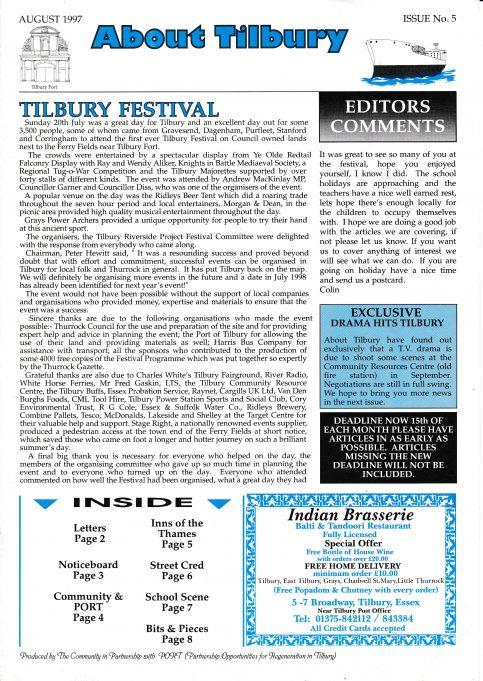 About Tilbury Magazine 1997