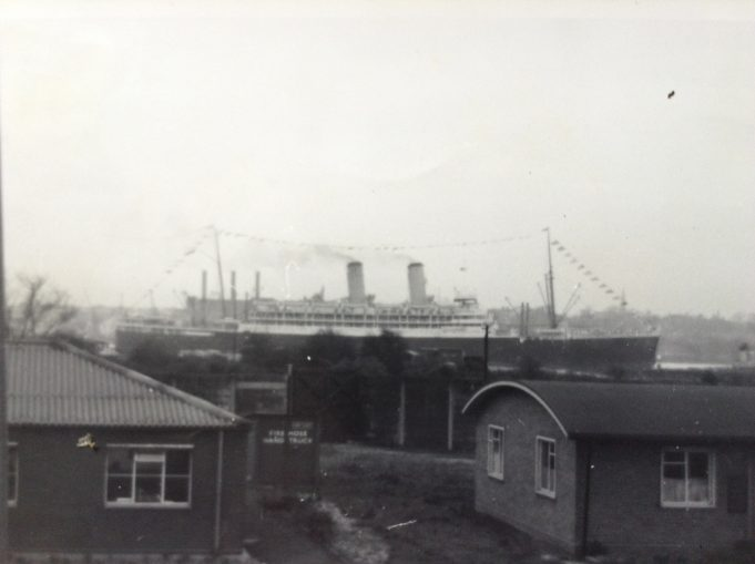 ss Orontes sailing up river to enter Tilbury Dock lock, November 1961