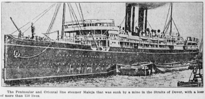 Loss of Sarah CL Pain on board at the sinking of the SS Moloja 27th Feb 1916
