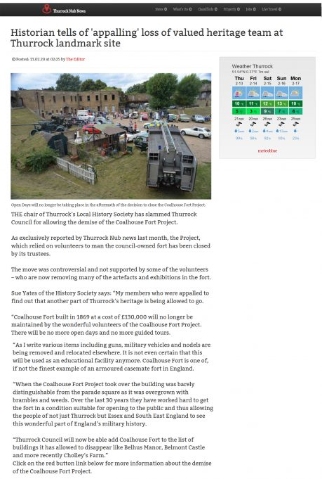 Coalhouse Fort Project closes
