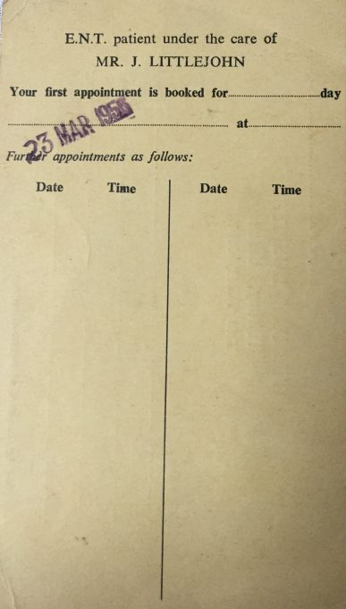Tilbury Hospital Appointment Card 1956