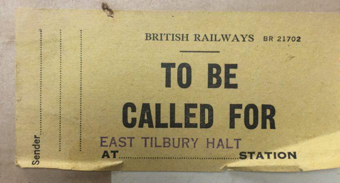 East Tilbury Halt Station Label