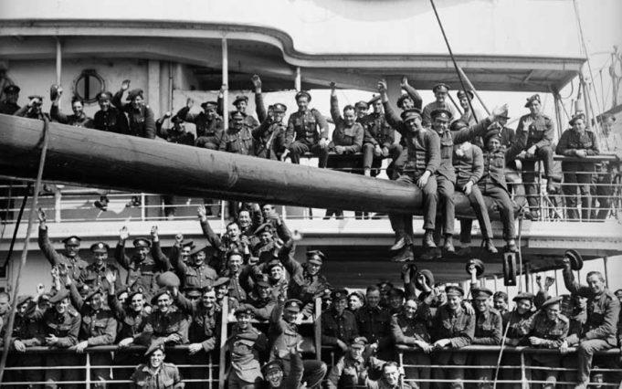 Springbok Soldiers leaving Tilbury Riverside July 1919 on their way home.