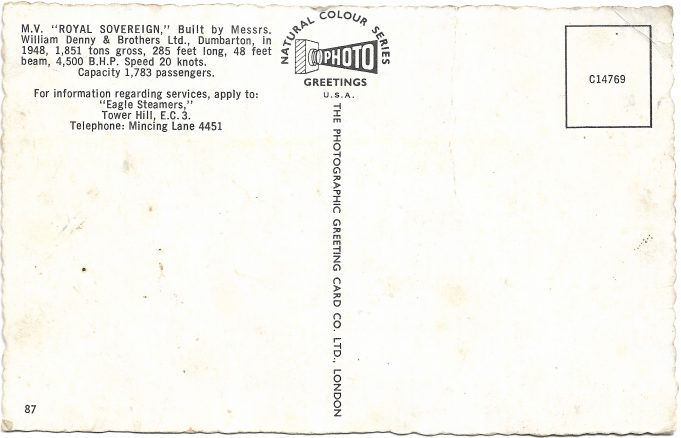 Rear of Post Card
