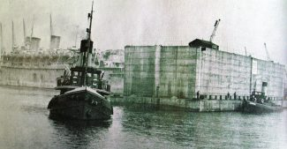 A Mulberry harbour component leaving Tilbury | Curtesy of Thurrock Museum